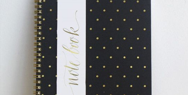 Black and Gold Polka Dot Notebook