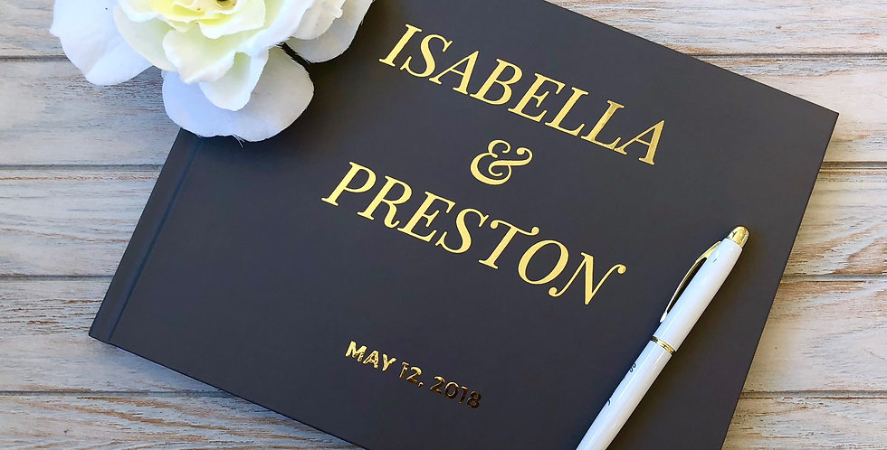 Classic Charcoal Wedding Guest Book, Gold Foil Wedding Guest Book.1