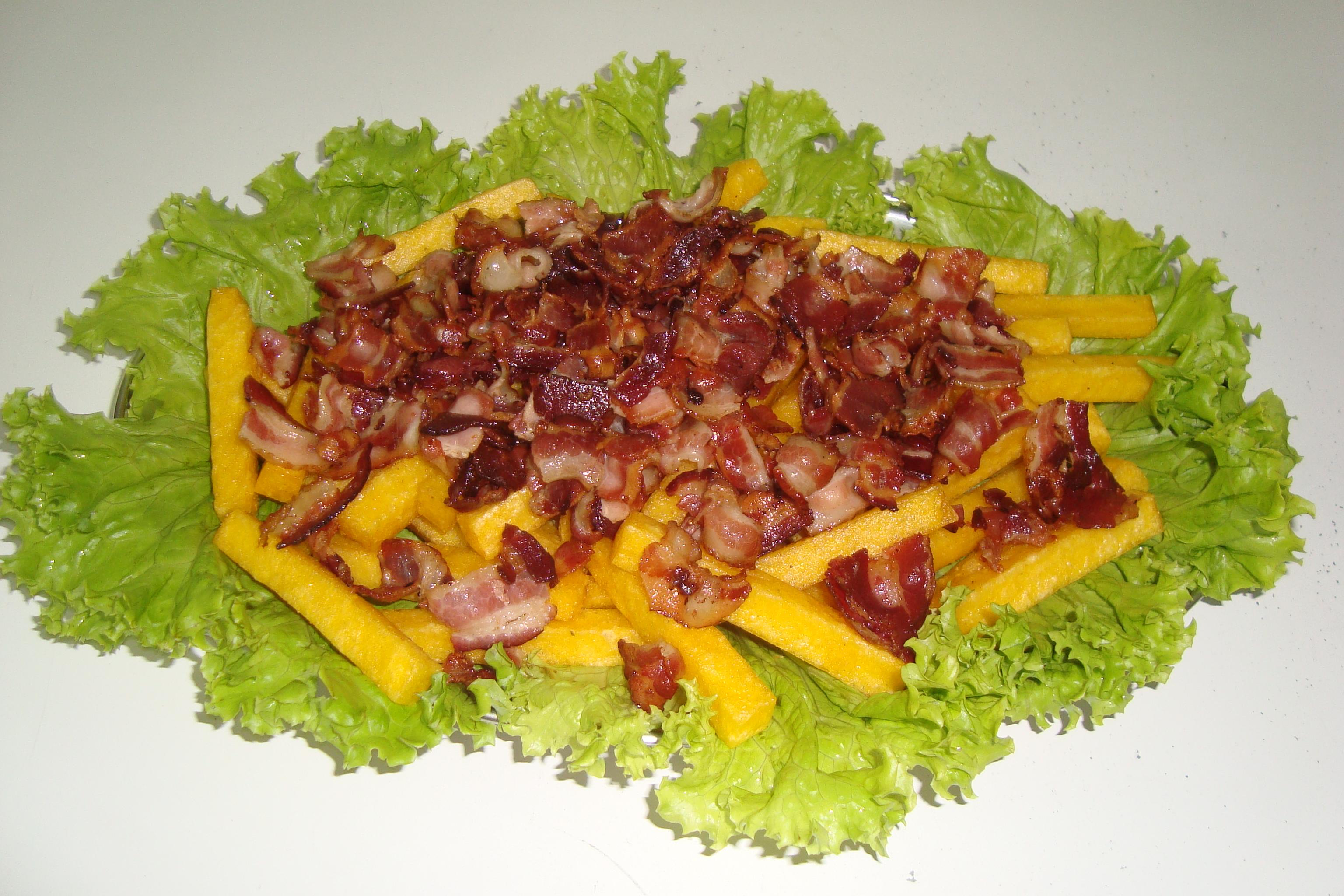 polenta com bacon