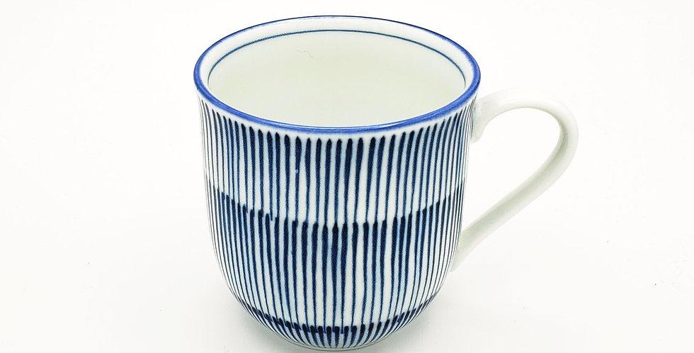 Hoso Tokusa Blue And White Striped Mug