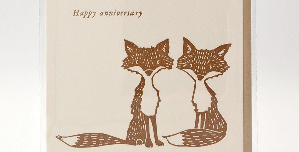 Dogwood Letterpress Card - Happy Anniversary