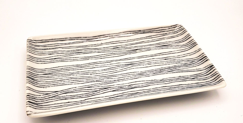 Rectangle Plate With Blue Stripes