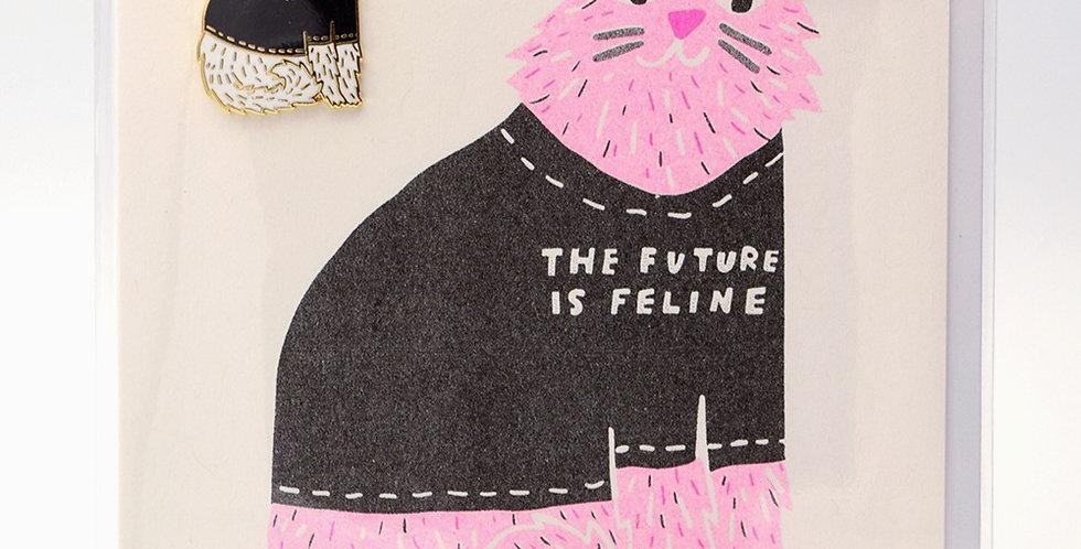 Yellow Owl Workshop Pin Card -Future Is Feline