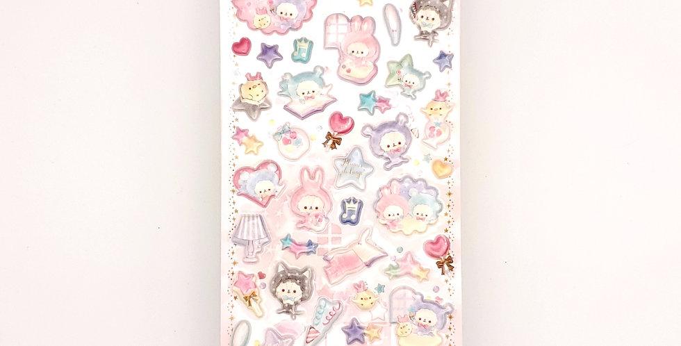 Cute Animal Puffy Sticker Sheet