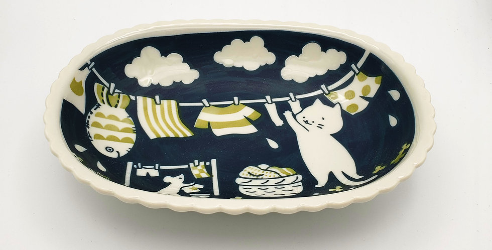 Cat Life Oval Bowl