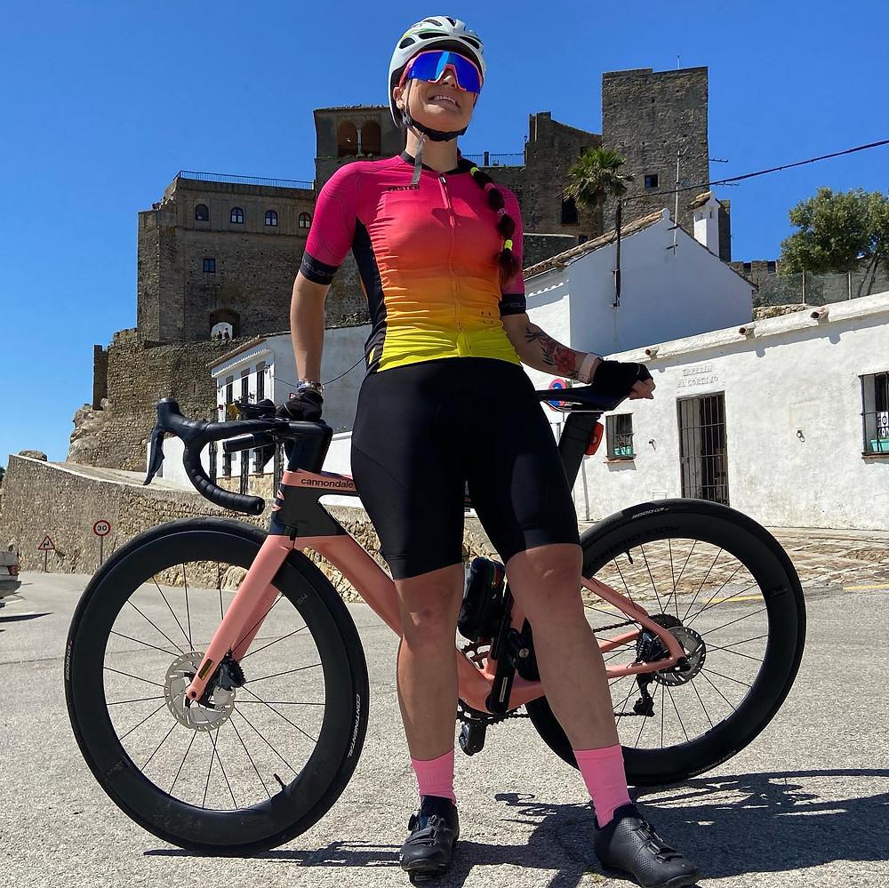 Solis Ortus cycling Jersey modelled by Kelly at Castillo de Castellar de la Frontera.