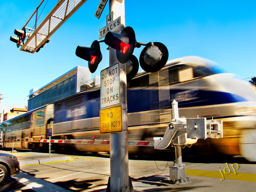 Amtrak at the crossing.