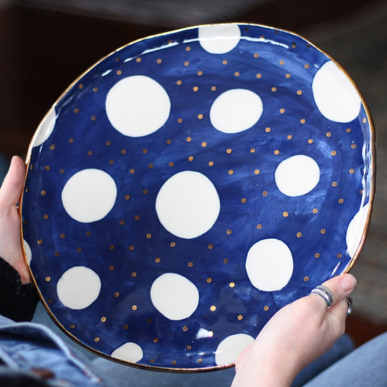 Large serving platter in cosmic navy