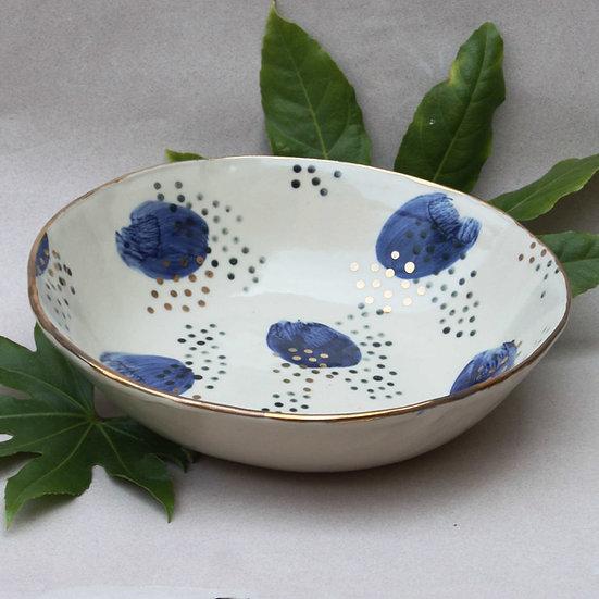 Blue nebula pattern serving bowl