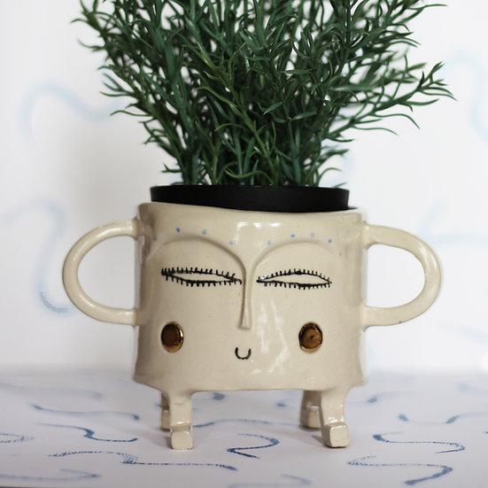 Medium planter with gold cheeks