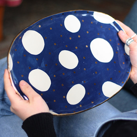 Navy and gold oval platter