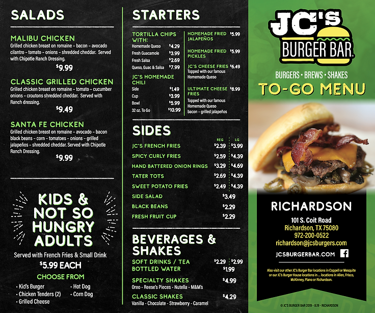 JC's Burger Bar - MENU Richardson, TX
