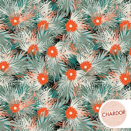 CD0427 - Watercolor Palms orange flower