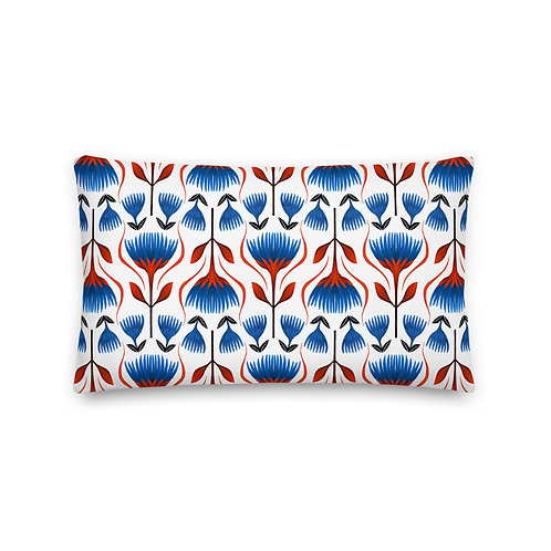 Red and Blue Floral Premium Pillow
