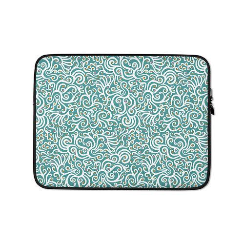 Seamless Swans in Blue Laptop Sleeve