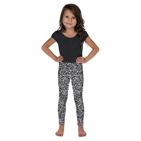 Seamless Swirls Kid's Leggings - Black and White