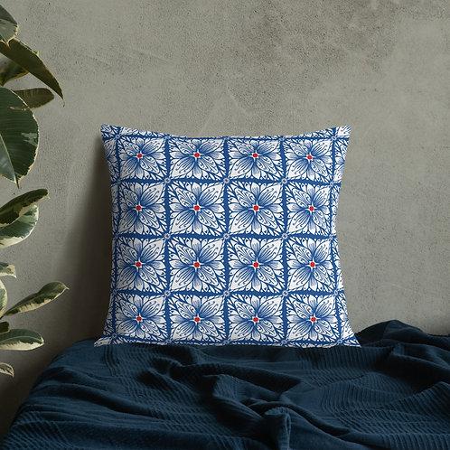 Blue Floral Tile Premium Pillow
