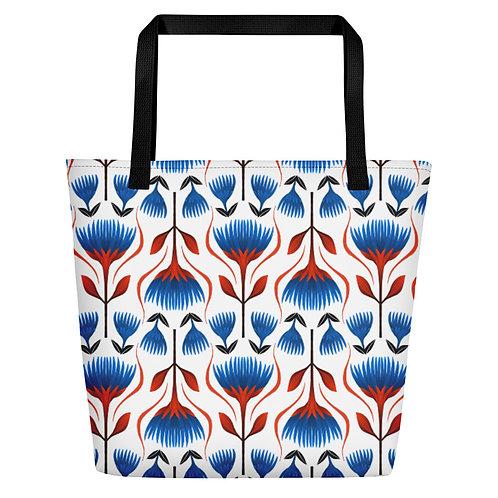 Geometric Floral Beach Bag
