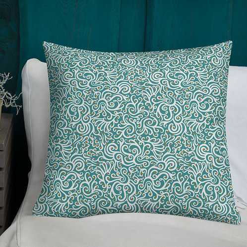 Seamless Swirl Premium Pillow in Blue