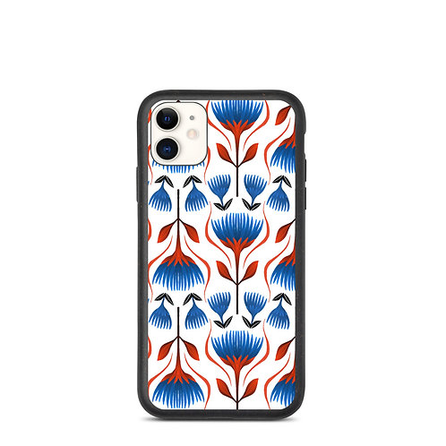 Red and Blue Floral Biodegradable phone case