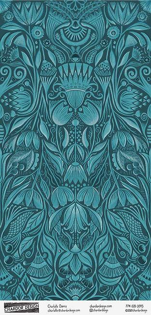 Chardor Design - Blue Floral Wallpaper-0