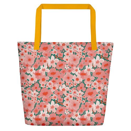 Watercolor Flower Beach Bag