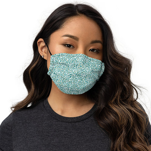 Seamless Swirl Face Mask in Blue
