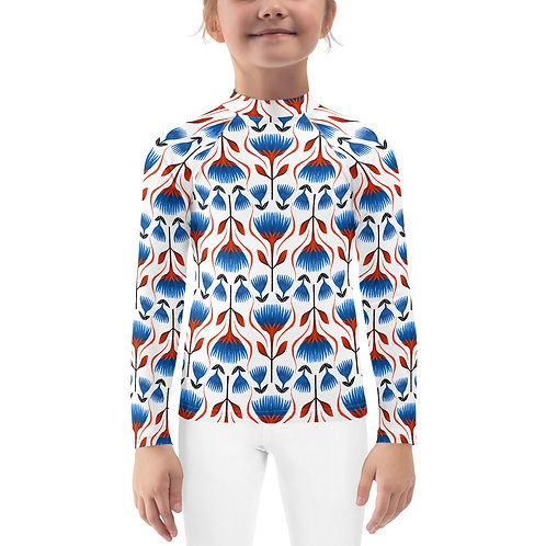 Kids Red and Blue Floral Rash Guard