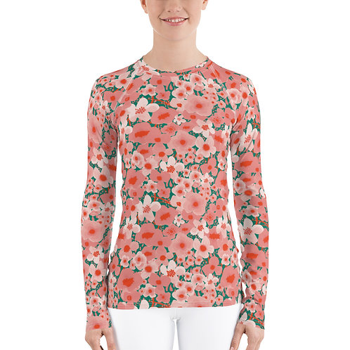 Women's Watercolor Flower Rash Guard