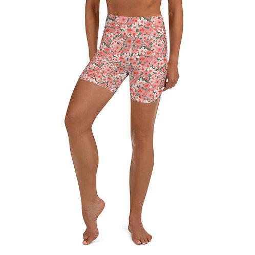 Watercolor Flower Yoga Shorts