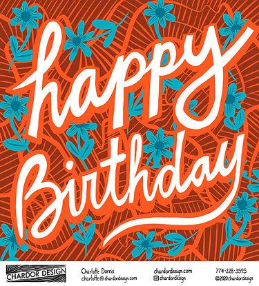 Happy Birthday Blue and Orange Flower Ca