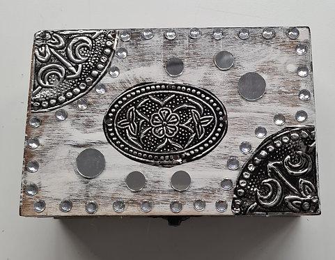 Holz-Schatulle mit Strass und Spiegel