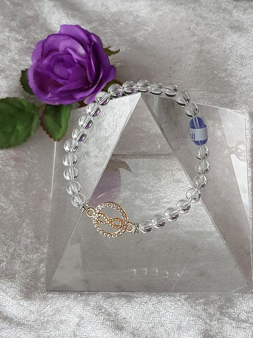 """Edelstein-Armband """"Bergkristall"""" mit Lemniskate"""