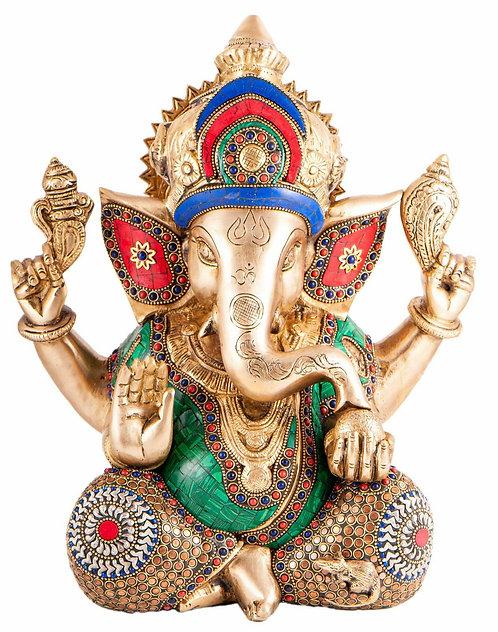Ganesha Messing mit Steinkunst, 30 cm