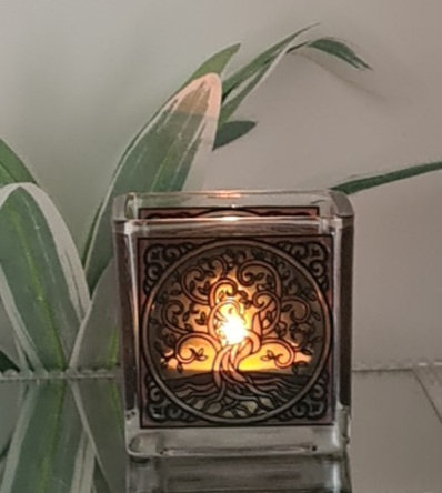 Teelicht-Votivglas Lebensbaum