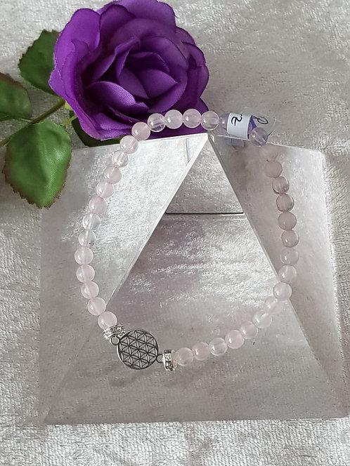 "Edelstein-Armband ""Rosenquarz"" mit Blume des Lebens"