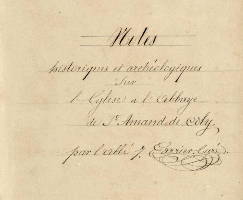 Détail première page des Notes historiques et archéologiques Abbé Jean Carrier