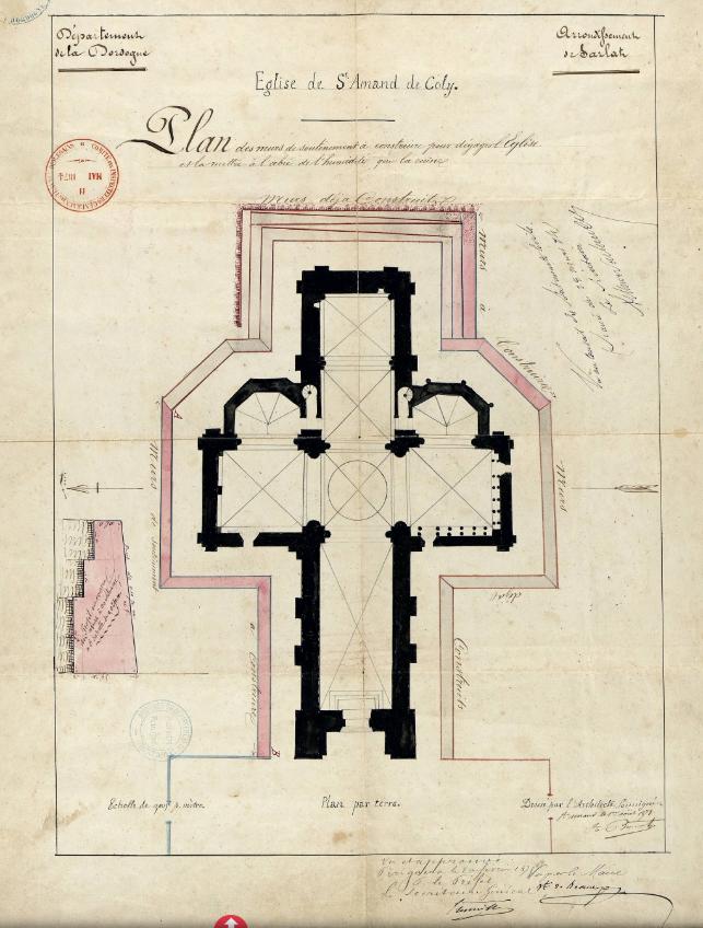 Plan de 1873 indiquant les soutènements prévus et réalisés