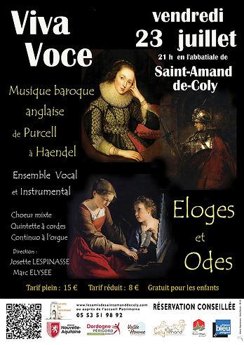 Affiche concert Viva Voce 2021 Eloges et Odes à Saint Amand de Coly