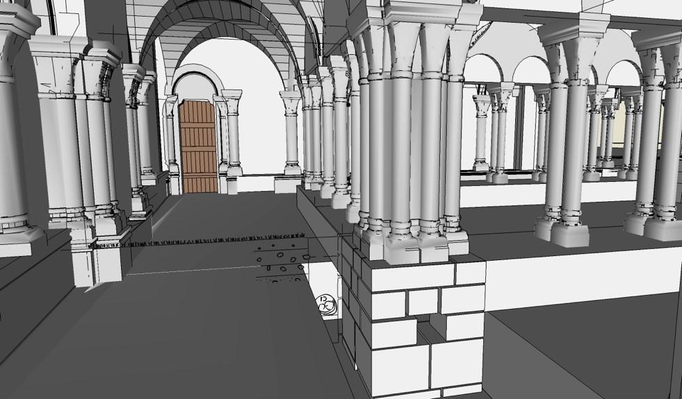 Image 3D: Evocation de l'aspect possible des galeries du cloître