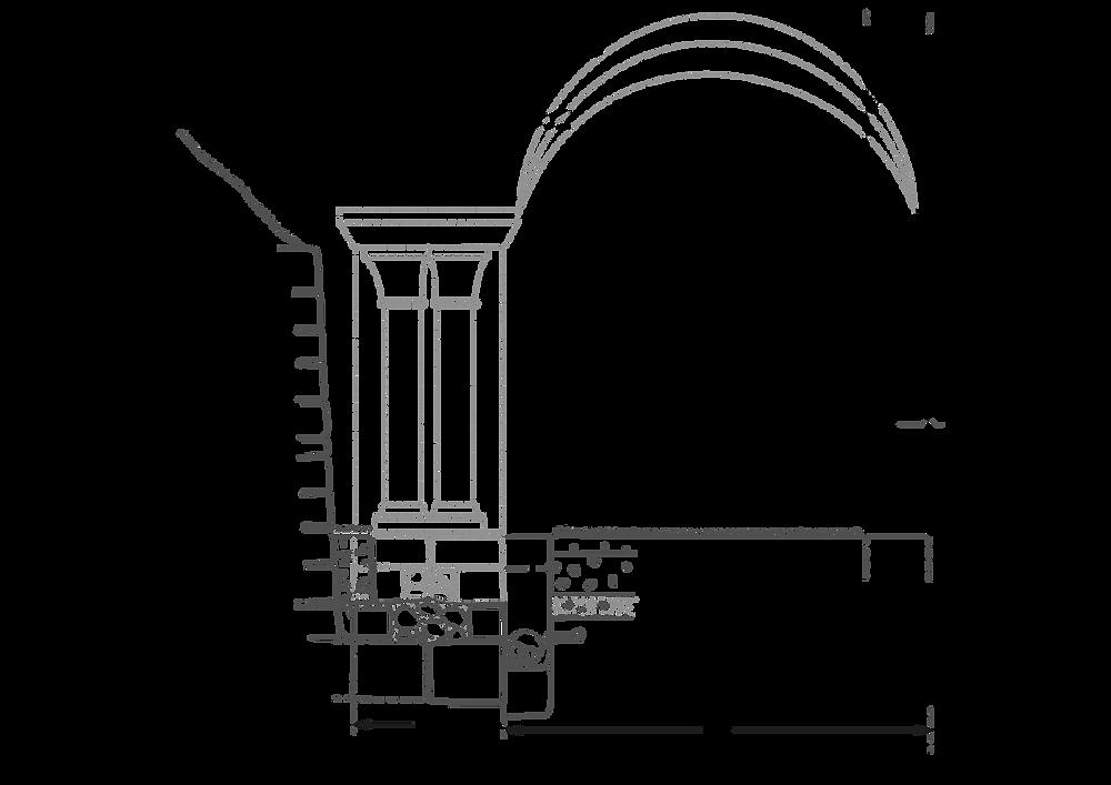 Coupe sud-nord du sondage de 1980, avec les niveaux archéologiques et une restitution de l'élévation possible