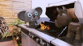Harry and Ned on the BBQ.