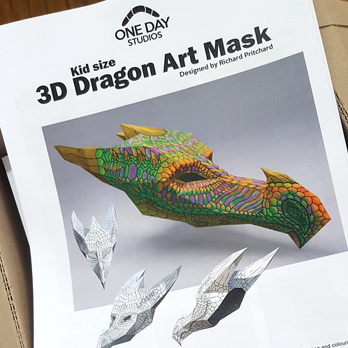 3D DRAGON ART MASK: KID SIZE - HARDCOPY