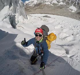 Sergi ascendiendo primera parte glaciar