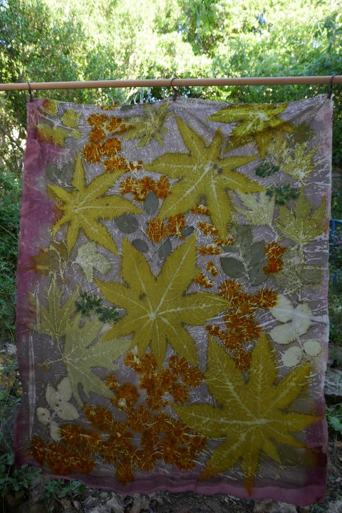 הדפס בוטני מעלים ופרחים