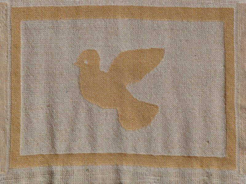 יונת השלום- אריגה כפולה בנול