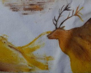 ציור באדמות על סדין ישן