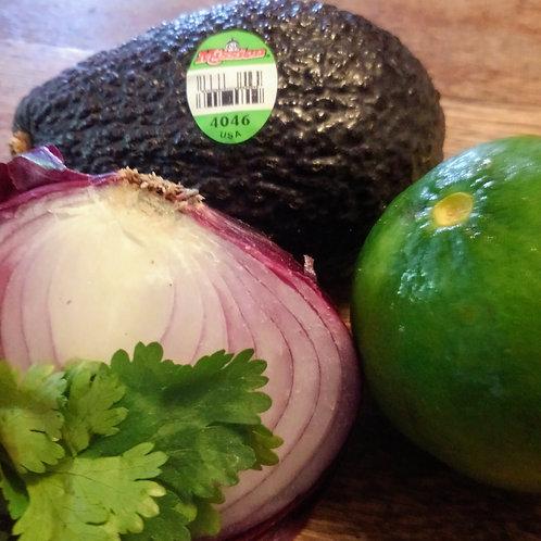 Guacamole Kit - 2 Avocados, 1 Red Onion, 1 Jalapeño, Cilantro & Lime