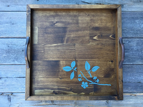 Rustic Wooden Tray (leaves)