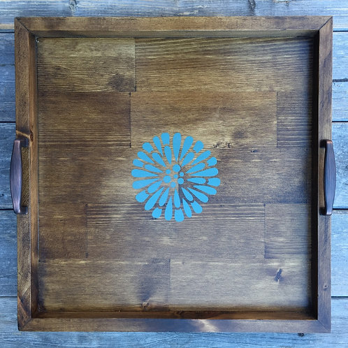 Rustic Wooden Tray (flower)